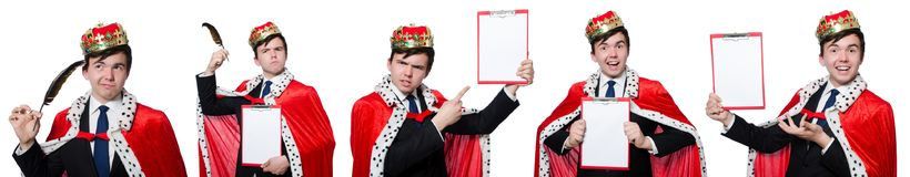 The concept of king businessman with crown Stock Photos