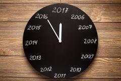 Concept klok op de vooravond van 2017 royalty-vrije stock fotografie