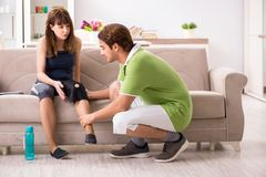 The concept of knee sports injury stock image