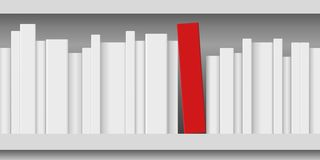 Concept of knowledge showing white papers and a red book arranged on shelf. royalty free illustration