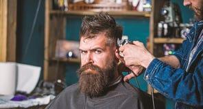 Concept ?l?gant de coupe de cheveux Mains de coiffeur avec la fin de tondeuse  Client avec la barbe sur le fond de salon Hippie b photographie stock libre de droits