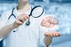 A concept of laboratorian innovative brain researching. A young doctor with a magnifier is standing and looking at the brain model hanging above her hand at the royalty free stock photo