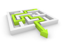 Concept of labyrinth. Green arrow found way out of simple labyrinth Royalty Free Stock Photography