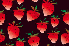 Concept laconic strawberries seamless pattern. On black background. ripe summer berries modern style repeatable motif for surface design Stock Photos