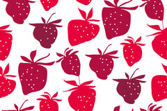 Concept laconic strawberries seamless pattern. Ripe summer berries modern style repeatable motif for surface design Stock Photo