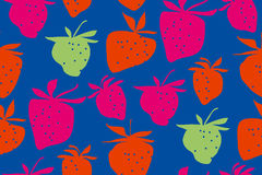 Concept laconic strawberries seamless pattern. Ripe summer berries modern style repeatable motif for surface design Stock Photography