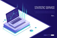 Analysis data and Investment. Business success.Financial review with laptop and infographic elements. 3d isometric style. Concept of landing page . Analysis data Royalty Free Stock Photos