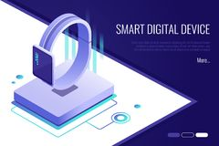 Concept of the landing page for the sale of smart watches. Smart digital device. 3d Isometric style. Concept of the landing page for the sale of smart watches Stock Photo