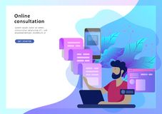 Free Concept Landing Page Template Customer Service, Male Hotline Operator Advises Client Stock Photo - 134861750