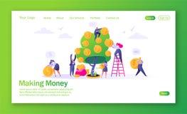 Concept landingspagina op financiënthema Het maken van geldhandelsinvesteringen met vlakke mensenkarakters vector illustratie