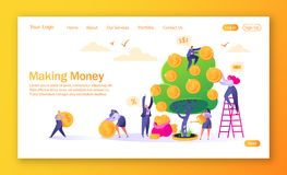 Concept landingspagina op financiënthema Het maken van geldhandelsinvesteringen met vlakke mensenkarakters Vrouw het water geven  royalty-vrije illustratie