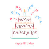 Concept of a large birthday cake with a candle and candy with the words happy birthday. Vector illustration in a linear vector illustration