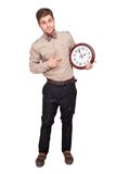 Concept for lateness, man with clock Stock Photos