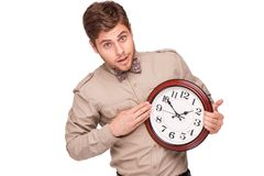Concept for lateness, man with clock Stock Images