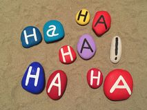 Concept of laugh therapy on stones Royalty Free Stock Photo