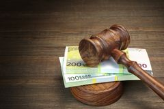 Concept For Law, Corruption, Bankruptcy, Bail, Crime, Fraud, Auc. Concept For Corruption, Bankruptcy Court, Bail, Crime, Bribing, Fraud, Auction Bidding. Judges Stock Photo