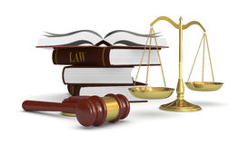 Concept of law and justice. One weight balance with a gavel and a stack of books, concept of law and justice (3d render Stock Photos