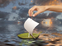 Concept - le ship& x27 ; lancement de s Images stock