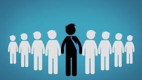 The concept of the Leader of a group, Pictogram over blue background (CEO) stock video