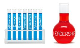 Concept of leadership. Blue and red flasks. Stock Images