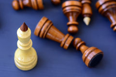 Concept of leadership, success, motivation. Chess pieces on the Board. Stock Photography