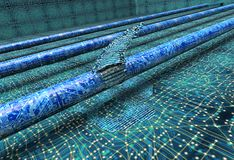 Concept of leaky software, data pouring out of pipe. 3d illustration Royalty Free Stock Image