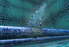 Concept of leaky software, data pouring out of pipe. 3d illustration Royalty Free Stock Images