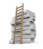 Concept of learning. One pile of white books with a stair (3d render Stock Photography