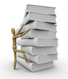 Concept of learning. One pile of white books with a wooden dummy climbing it (3d render Stock Photos