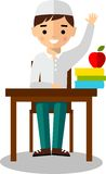 Concept of learning with arabian pupil and  school table Royalty Free Stock Image
