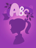 The concept of learning and education. The ABC concept of education, child profile silhouette, the topic of knowledge, alphabet and school on purple background Stock Illustration