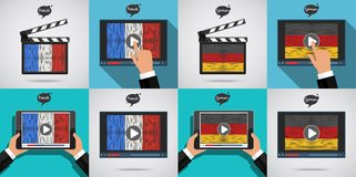 Concept of learning languages. Study French and German. Movie production clapper board and screen with hand drawn French and German flags. Film in French and Stock Photos