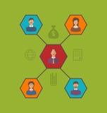 Concept leiding en team bedrijfsmensen Vlak stijlpictogram Stock Fotografie