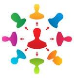 Concept leiding, kleurrijke mensenpictogrammen Royalty-vrije Stock Foto's