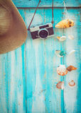 The concept of leisure travel in the summer on a tropical beach seaside Stock Images