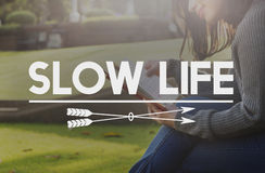 Concept lent de choix de silence de relaxation de mode de vie de la vie images libres de droits