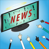Concept Les actualités sont notre dieu sur l'affichage à cristaux liquides TV avec des mains Images stock