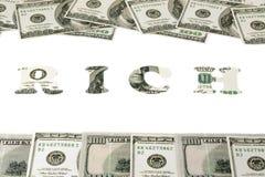 Concept les riches de mot Photographie stock