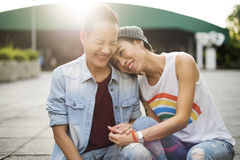 Concept lesbien de bonheur de moments de couples de LGBT Photographie stock libre de droits