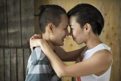Concept lesbien de bonheur de moments de couples de LGBT Image libre de droits