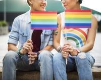 Concept lesbien de bonheur de moments de couples de LGBT image stock