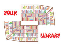 Concept of library sign - bookshelves and text Stock Photos