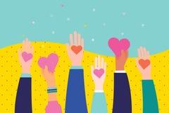 Concept liefdadigheid en schenking Geef en deel uw liefde aan mensen stock illustratie