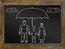 Concept of life insurance. Chalk drawing on the blackboard Royalty Free Stock Image