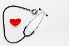 Concept of life stethoscope on white background with plush heart Royalty Free Stock Photos