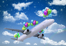 Concept of light hops a plane flies on balloons Royalty Free Stock Photo
