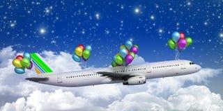 Concept of light hops a plane flies on balloons Stock Photos