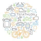 Concept linéaire coloré de triathlon Ligne triathlete et tout autre elem Images libres de droits