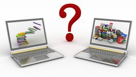 Concept on-line of help in a laptops with question- mark Stock Photos