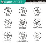 Concept Line Icons Set 11 Natural and formal sciences Stock Photography